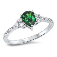 Classic Designer Pear Simulated Emerald Cubic Zirconia Ring Sterling Silver 925