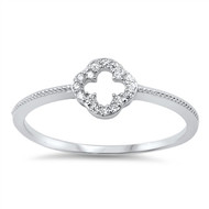Clover Cross Cubic Zirconia Ring Sterling Silver 925