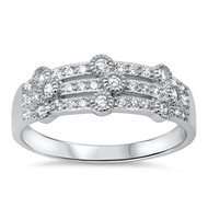 Tri Rows Designer Cubic Zirconia Ring Sterling Silver 925