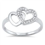Two Hearts As One Cubic Zirconia Ring Sterling Silver 925