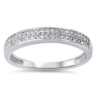 Double Rows Cubic Zirconia Ring Sterling Silver 925