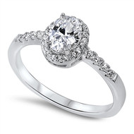 Classic One Center Halo and Side Stones Cubic Zirconia Ring Sterling Silver 925