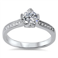 Classic One Center and Side Stones Cubic Zirconia Ring Sterling Silver 925