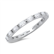 Baguette Eternity Cubic Zirconia Ring Sterling Silver 925