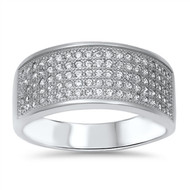 Five Pave Rows Cubic Zirconia Ring Sterling Silver 925