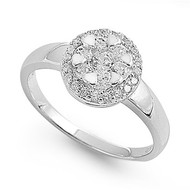 Cluster Center Flower Solitaire Cubic Zirconia Ring Sterling Silver 925