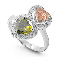 Stacked Hearts Olive Champagne Cubic Zirconia Ring Sterling Silver 925