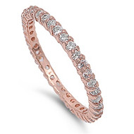 Stackable Eternity Ring Clear Cubic Zirconia Rose Gold-tone Plated Sterling Silver 925