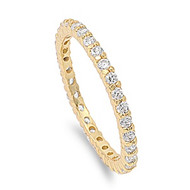 Stackable Yellow Gold-Tone Plated Eternity Cubic Zirconia Ring Sterling Silver 925