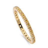Eternity Yellow Gold-Tone Plated Yellow Cubic Zirconia Ring Sterling Silver 925