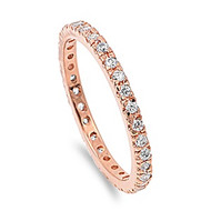 Stackable Rose Gold-Tone Plated Eternity Cubic Zirconia Ring Sterling Silver 925