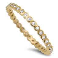 Yellow Gold- Tone Plated Rounded Stackable Eternity Cubic Zirconia Ring Sterling Silver 925