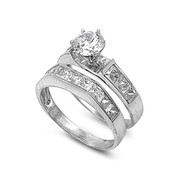 Round Center with Princess Cut Stones Cubic Zirconia Wedding Set Ring Sterling Silver 925