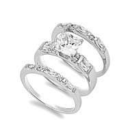 Princess Cut Center with Baguette Stones Cubic Zirconia Wedding Set Ring Sterling Silver 925