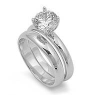 Solitaire Round Cubic Zirconia Wedding Set Ring Sterling Silver 925