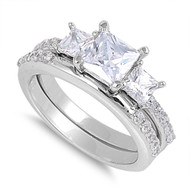Three Princess Cut Center with Round Stones Cubic Zirconia Wedding Set Ring Sterling Silver 925