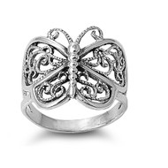 Victorian Filigree Butterfly Ring Sterling Silver 925