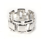 Designer Chain Style Ring Sterling Silver 925