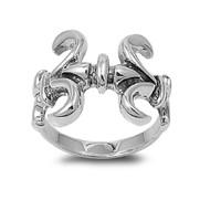Twin Fleur De Lis Ring Sterling Silver 925