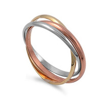 Tri Color Band Set of 3 Ring Sterling Silver 925