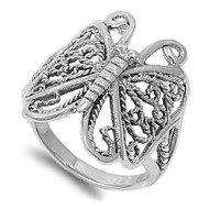 Butterfly Goddess Filigree Ring Sterling Silver 925