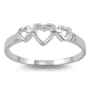 Triplet Hearts Ring Sterling Silver 925