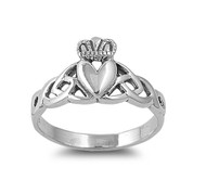 Claddagh Triquetra Fusion Ring Sterling Silver 925