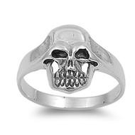 Solitaire Skull Biker Ring Sterling Silver 925