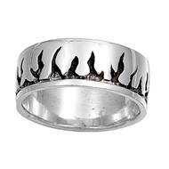 Black Flames Ring Sterling Silver 925