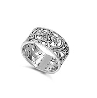 Victorian Filigree Op Art Ring Sterling Silver 925