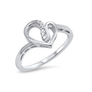 Heart Cubic Zirconia Fashion Ring Sterling Silver 925