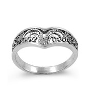 Pointed Design Op Art Filigree Ring Sterling Silver 925