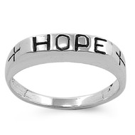 Hope Word in Plain Block Ring Sterling Silver 925