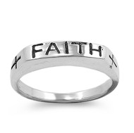 Faith Word in Plain Block Ring Sterling Silver 925
