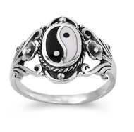 Natural Duality Yin and Yang Ring Sterling Silver 925