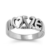 The Love Word in Fancy Block Heart Ring Sterling Silver 925