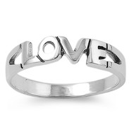 Love Word in Fancy Block Caps Ring Sterling Silver 925