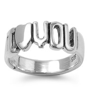 I Love You in Block Ring Sterling Silver 925