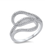 Crooked line Cubic Zirconia Designer Ring Sterling Silver 925