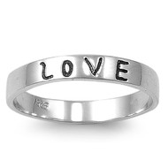 Love In Block Font Inscribed Band Ring Sterling Silver 925