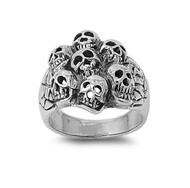 7th Circle of Hell Skull Ring Sterling Silver 925