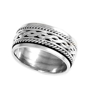 Tribal Weave Spinner Ring Sterling Silver 925