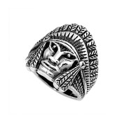 Native Indain Chief Ring Sterling Silver 925