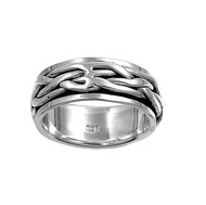 Abstract Weave Spinner Ring Sterling Silver 925