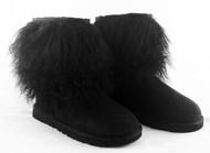 Ugg Classic Short Sheepskin Cuff Boots Black, Size 6