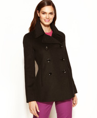 Calvin Klein Wool-Cashmere-Blend Peacoat Chocolate Brown Size 2