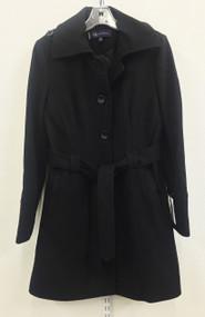 Anne Klein Women's Single-Breasted Black Wool-Blend Coat Size Medium