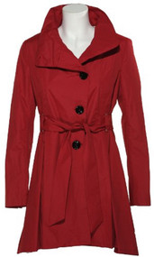 STEVE MADDEN Belted & Skirted Raincoat [2116SM], DARK RED, MEDIUM