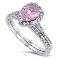 Teardrop Pink Cubic Zirconia Engagement Wedding Ring Sterling Silver 925