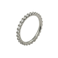 Rhodium Plated Eternity White Cubic Zirconia Stackable Band Sterling Silver 925 Ring